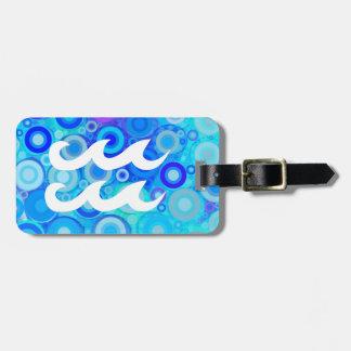 Aquarius on Blue Rings Luggage Tag