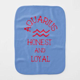 Aquarius (Red Text) Burp Cloth