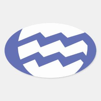 Aquarius Symbol Oval Sticker