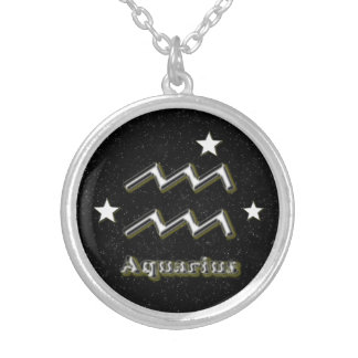 Aquarius symbol silver plated necklace
