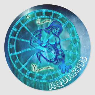 Aquarius the Water Bearer Horoscope Classic Round Sticker
