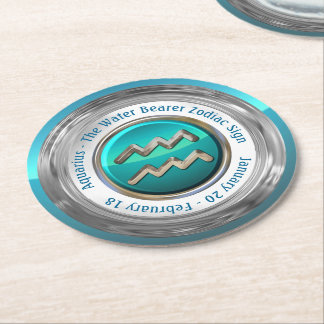 Aquarius - The Water Bearer Zodiac Sign Round Paper Coaster