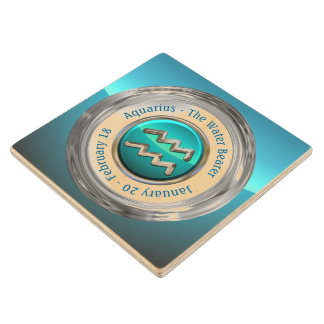 Aquarius - The Water Bearer Zodiac Symbol Wood Coaster