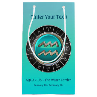 Aquarius - The Water Carrier's Horoscope Symbol Small Gift Bag