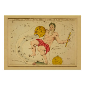 Aquarius  - Vintage Sign of the Zodiac Image Poster