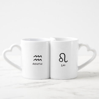 Aquarius water-bearer and Leo Zodiacs Astrology Coffee Mug Set