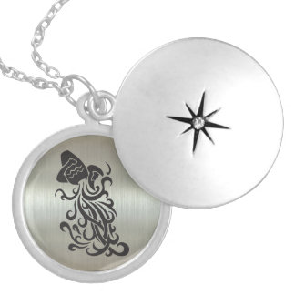 Aquarius Water Bearer Silhouette & Metallic Effect Round Locket Necklace