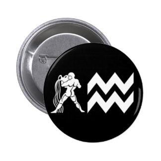 Aquarius with  Symbol 6 Cm Round Badge