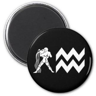 Aquarius with  Symbol 6 Cm Round Magnet