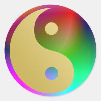 Aquarius Yin and Yang Round Sticker