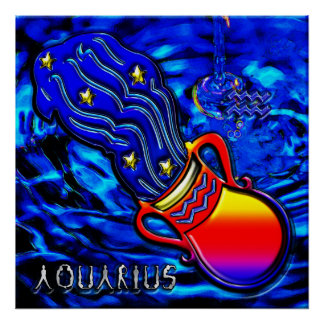 Aquarius Zodiac Art Poster