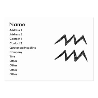 Aquarius. Zodiac Astrology Sign. Black. Pack Of Chubby Business Cards