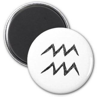 Aquarius. Zodiac Astrology Sign. Black. Magnet