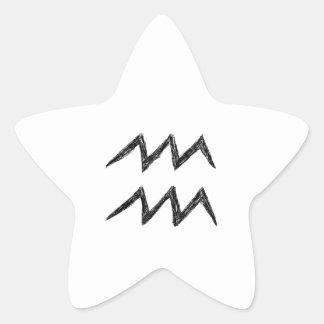 Aquarius. Zodiac Astrology Sign. Black. Star Sticker
