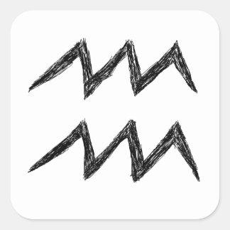 Aquarius. Zodiac Astrology Sign. Black. Stickers