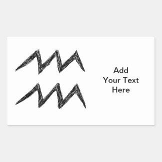Aquarius. Zodiac Astrology Sign. Black. Rectangular Sticker