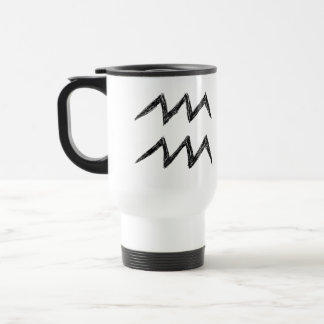 Aquarius. Zodiac Astrology Sign. Black. Travel Mug