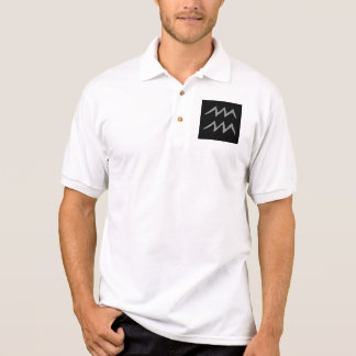 Aquarius. Zodiac Astrology Sign. Black. Polo Shirt