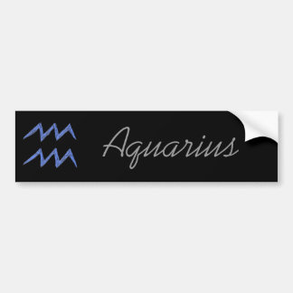 Aquarius. Zodiac Astrology Sign. Blue. Bumper Sticker