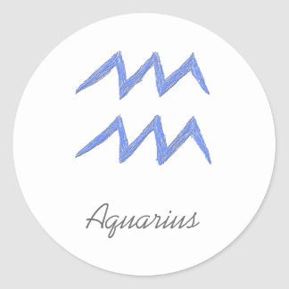 Aquarius. Zodiac Astrology Sign. Blue. Classic Round Sticker