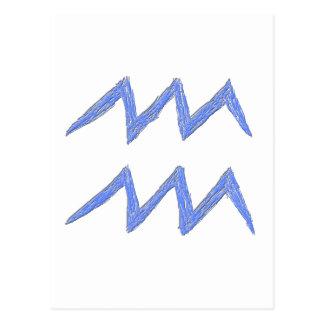 Aquarius. Zodiac Astrology Sign. Blue. Postcard