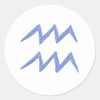 Aquarius Zodiac Astrology Sign Blue Sticker
