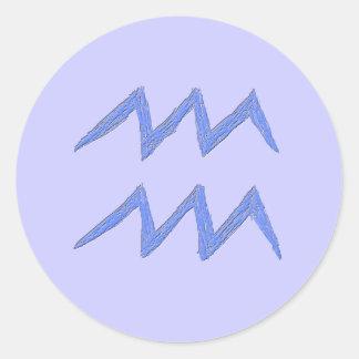 Aquarius. Zodiac Astrology Sign. Blue. Round Stickers