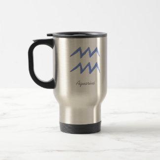 Aquarius. Zodiac Astrology Sign. Blue. Travel Mug