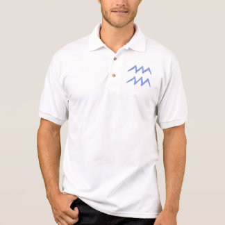 Aquarius. Zodiac Astrology Sign. Blue. Polo Shirt