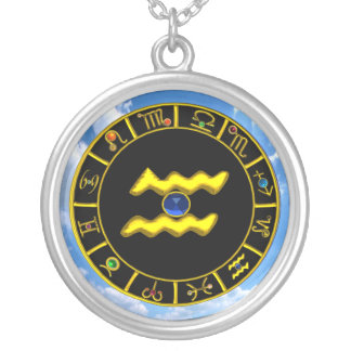 AQUARIUS ZODIAC BIRTHDAY JEWEL  Blue Sapphire Gold Silver Plated Necklace