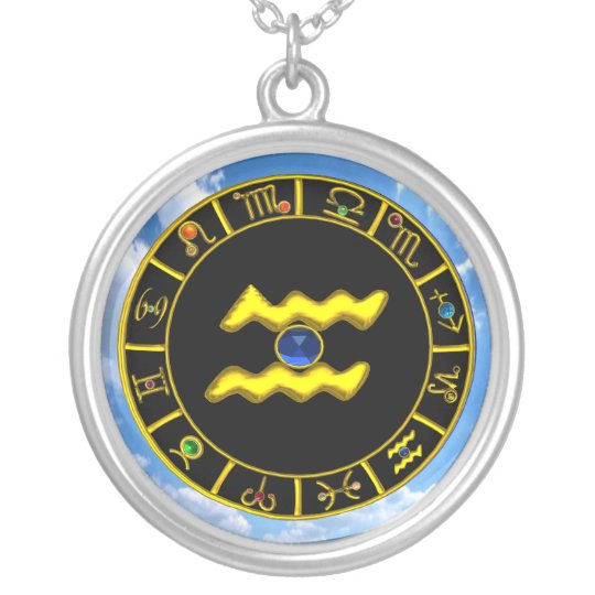 AQUARIUS ZODIAC BIRTHDAY JEWEL Blue Sapphire Gold Silver