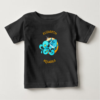 Aquarius Zodiac Birthday Sign With Your Name Baby T-Shirt