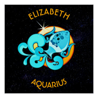 Aquarius Zodiac Birthday Sign With Your Name Poster