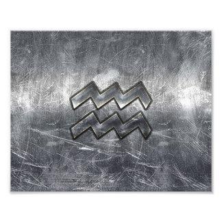 Aquarius Zodiac Distressed Silver Steel Style Photo Art