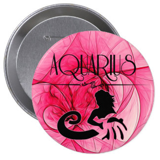 Aquarius Zodiac | Feminine Pink Button