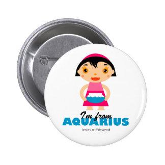 Aquarius Zodiac for kids 6 Cm Round Badge