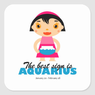 Aquarius Zodiac for kids Square Sticker