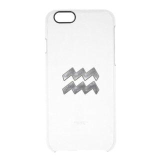 Aquarius Zodiac Grunge Distressed Silver Steel iPhone 6 Plus Case