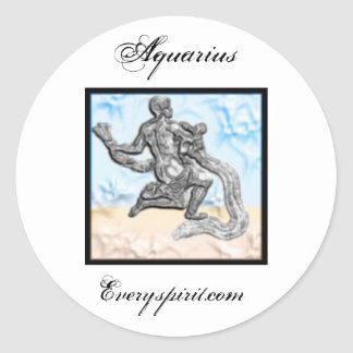 Aquarius Zodiac Items Round Sticker