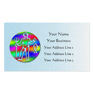 Aquarius Zodiac Low Cost Star Sign Rainbow Blue Business Card Template