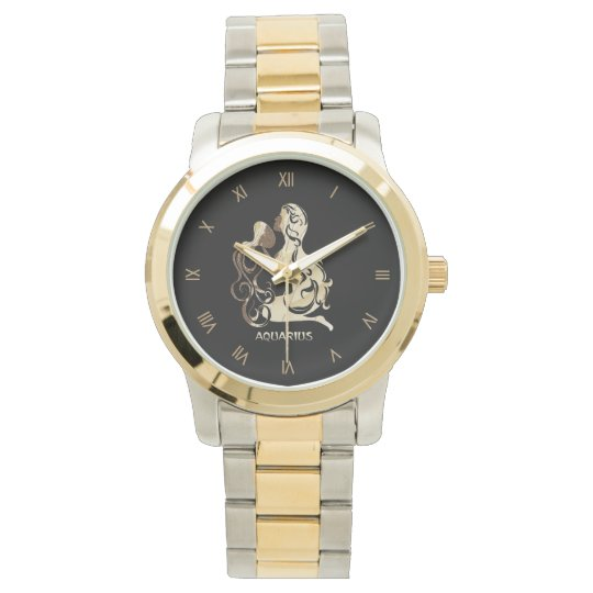 Aquarius Zodiac Roman Numerals Watch