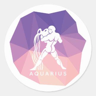 Aquarius zodiac sign 3d sticker. classic round sticker