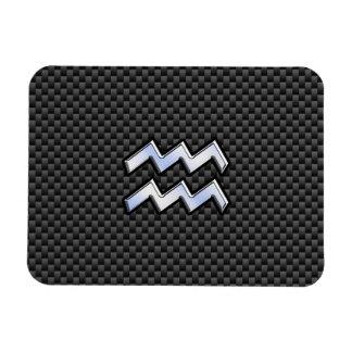 Aquarius Zodiac Sign Carbon Fiber Style Rectangular Photo Magnet
