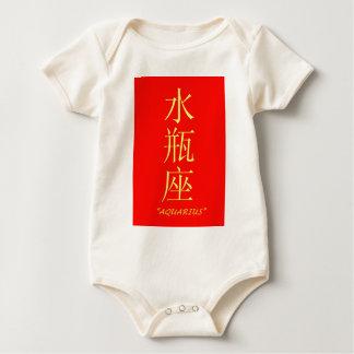 """""""Aquarius"""" zodiac sign Chinese translation Baby Bodysuit"""