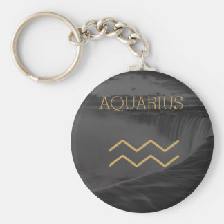 Aquarius Zodiac Sign | Custom Background + Text Key Ring