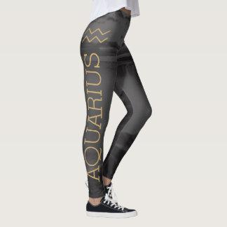 Aquarius Zodiac Sign | Custom Background + Text Leggings