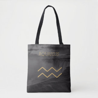 Aquarius Zodiac Sign | Custom Background + Text Tote Bag