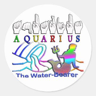 Aquarius ZODIAC SIGN FINGERSPELLED Round Sticker
