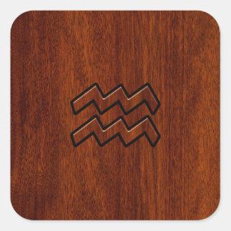 Aquarius Zodiac Sign Mahogany Style Square Sticker