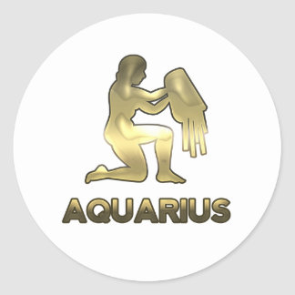 Aquarius zodiac sign - old gold edition round sticker